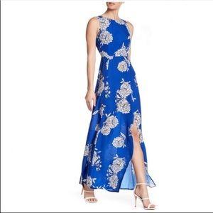 Vince Camuto Royal Blue Floral Slit Leg Maxi Dress